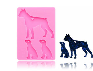 Boxer Dog Family Silicone Mold