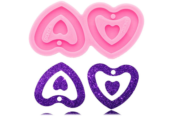 Double Heart Earring Silicone Mold