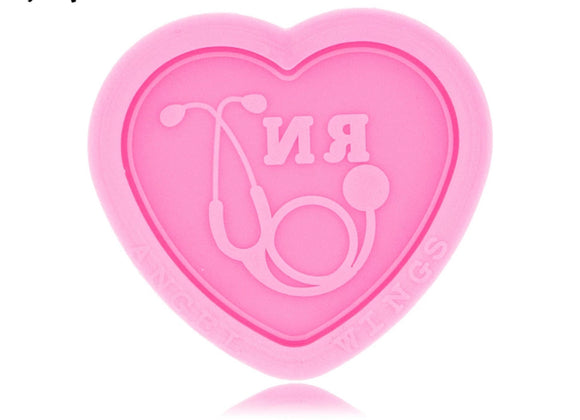 RN Heart Stethoscope Pop Socket Silicone Mold