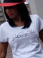 White Dolman Tee Delta Sigma Theta with Roman Dates Jan 13, 1913