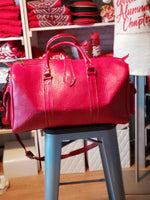 100% Leather Weekender Bag, Red