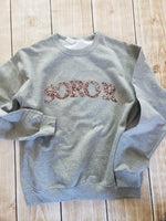 Soror crystal sweatshirt grey and red