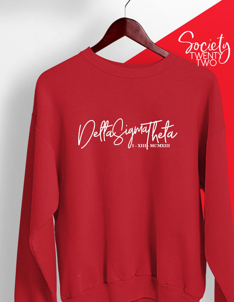 Delta Sigma Theta Cursive with Roman Numeral Founding Date Red Sweatshirt