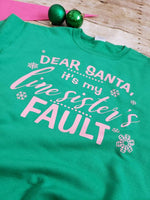 Dear Santa Pink and Green Sweatshirt