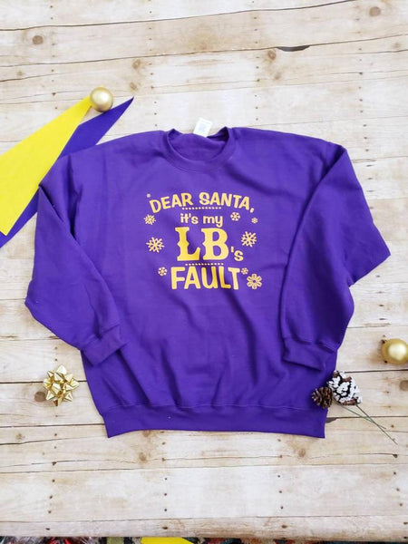 Dear Santa Purple and Gold Sweatshirt