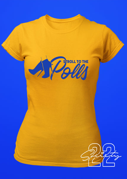 Stroll to the Polls Sorority Tshirt Gold and Royal