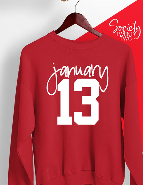 January 13 Red Sweatshirt