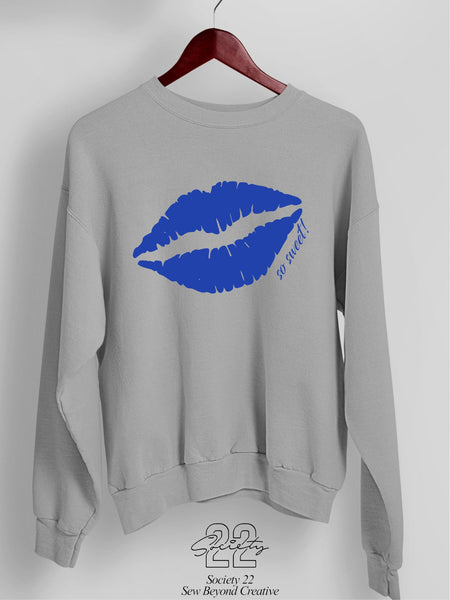 Kiss/Lips Pretty Sweatshirt Grey and Royal