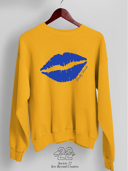 Kiss/Lips Pretty Sweatshirt Gold and Royal