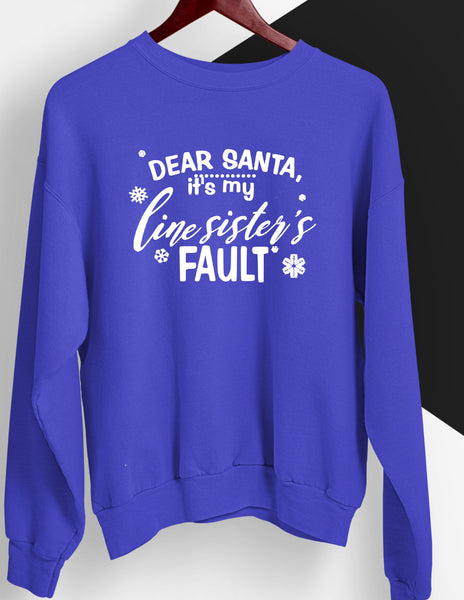 Dear Santa Royal and White Sweatshirt