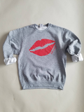 Kiss/Lips Oo-oop Sweatshirt in Grey