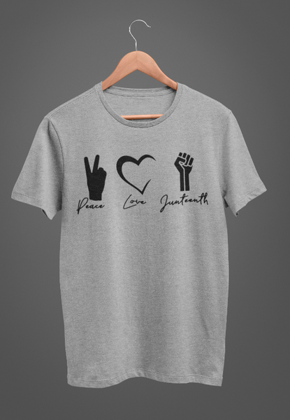 Peace, Love, Juneteenth in Gray