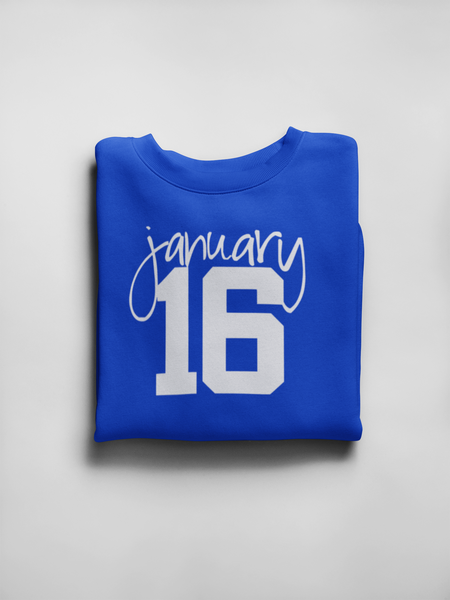 January 16 Royal and White Sweatshirt