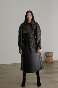 03-5 Vegan Leather Trench Coat
