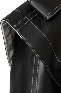 Detail black vegan leather jacket