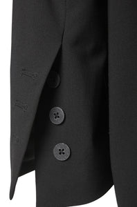 Button detail black organic wool blazer