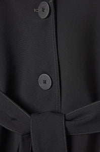 button detail black organic wool soft suit jacket