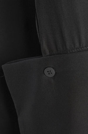 sleeve button detail black silk satin shirt
