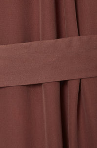 belt detail dusty blush red long silk satin dress