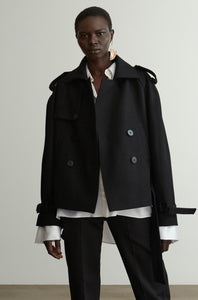 24-4 Short Organic Wool Trench Coat