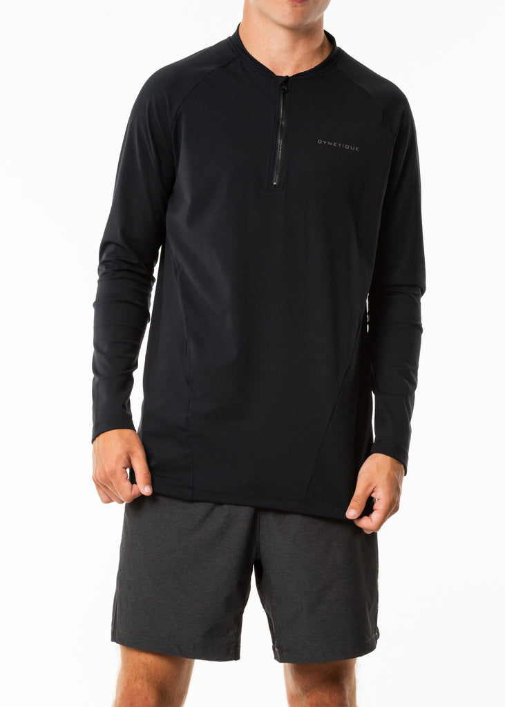 Men's activewear nz, black long sleeve running top, full sleeve base layer, half zip, fitted