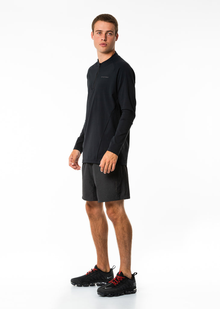 Men's online fitness clothing, black training top, long sleeve, half zip, compression base layer