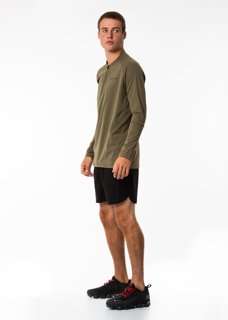 Men's activewear nz long sleeve base layer pullover training top, half zip, khaki