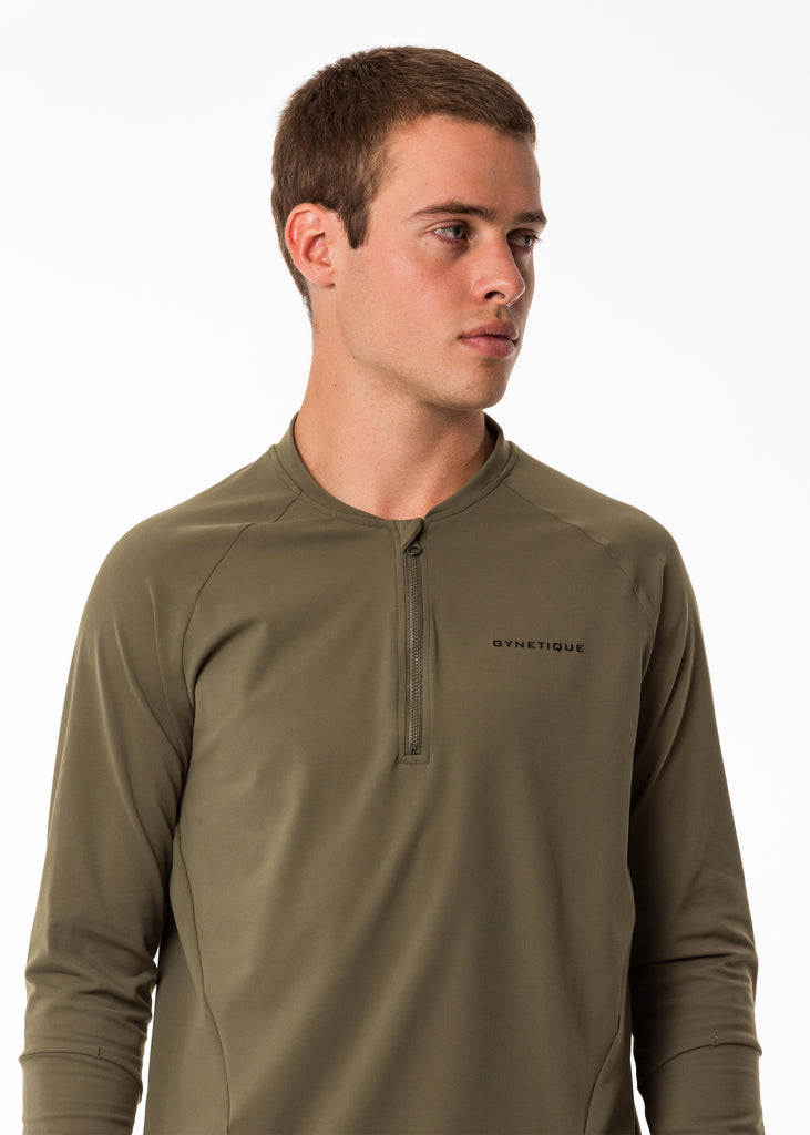 Men's gym wear nz base layer long sleeve pullover, compression top, half zip, khaki