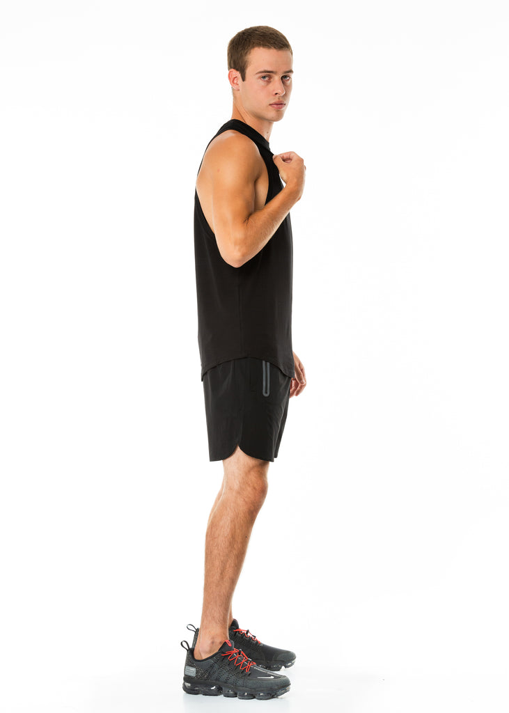 Men's activewear nz muscle tank top in black, curved hem, dropped arm holes, round neck