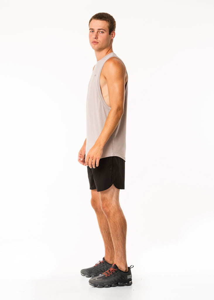 Men's sportswear nz, muscle tank top in grey, extra length, dropped armholes, round neck