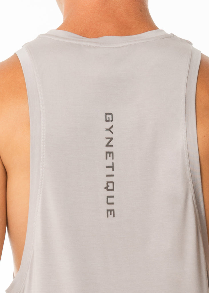 Men's gym wear nz grey muscle tank top, round neck, gynetique logo, dropped arm holes