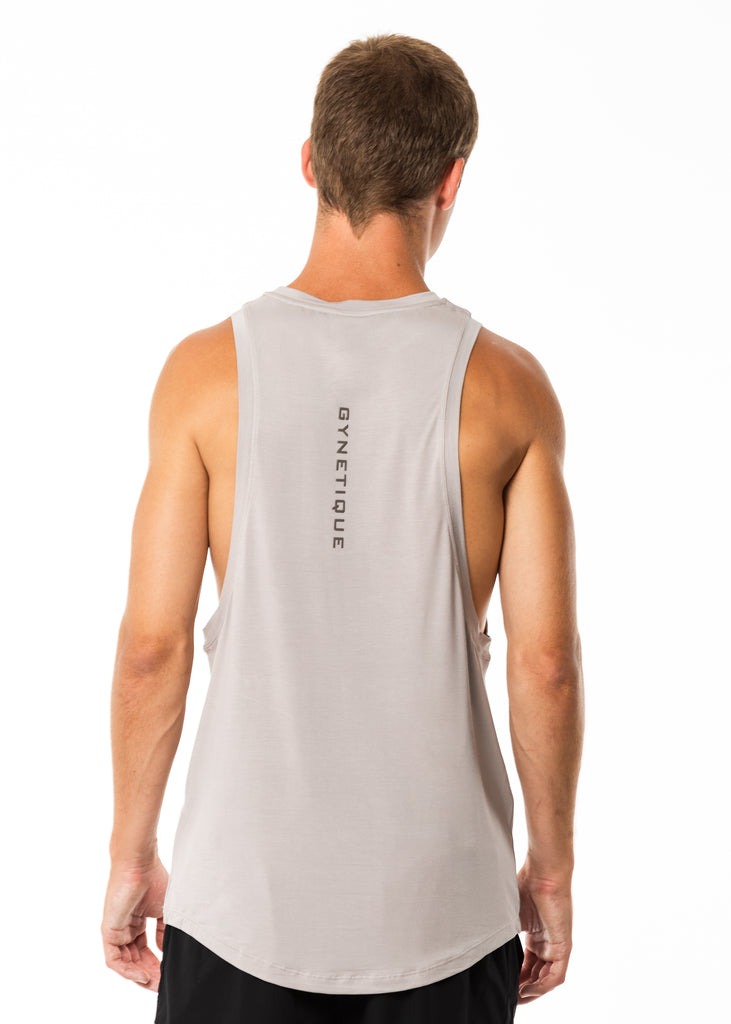 Men's gym clothing New Zealand, grey muscle tank top, round neck, dropped armholes, gynetique logo