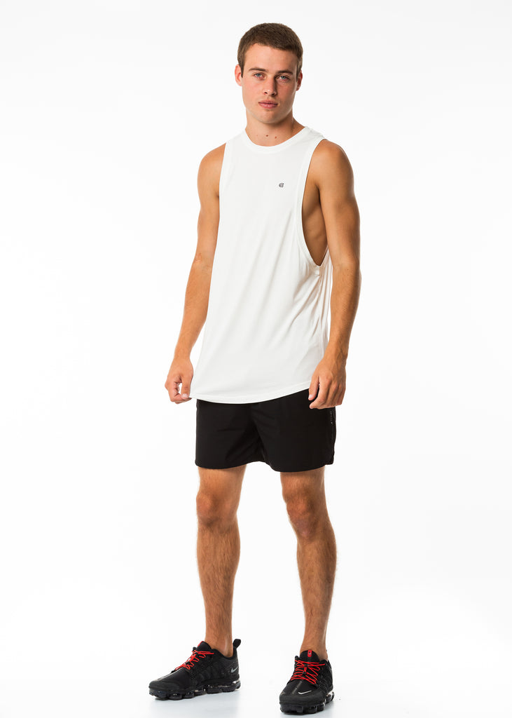 Men's sportswear New Zealand, white muscle tank top, dropped arm hole, long length