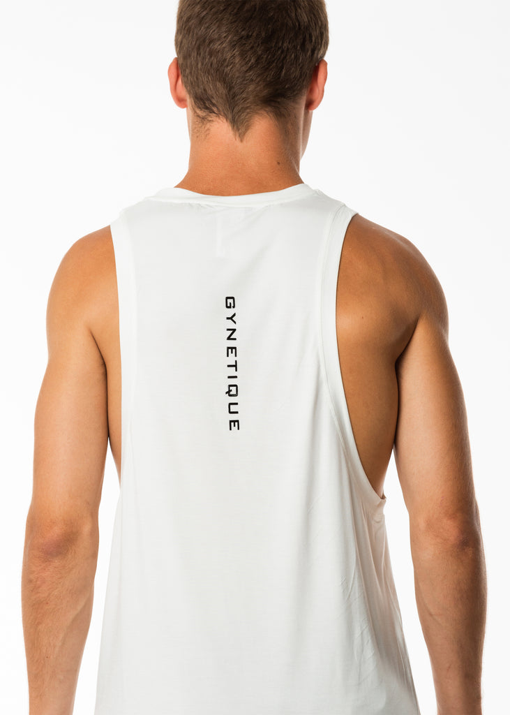 Men's gym wear New Zealand, white exercising muscle tank top, dropped armholes, round neck, extra length