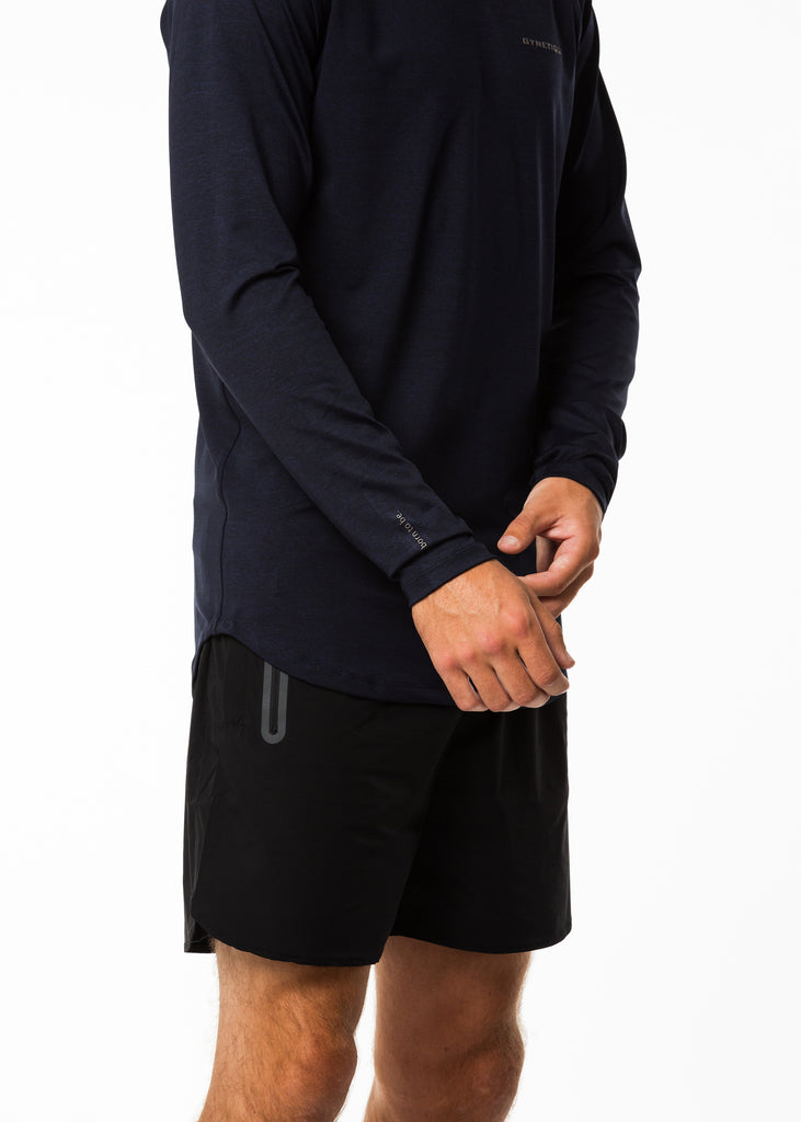 Men's gym wear online nz, born to be on sleeve, full sleeve workout top in navy, fitted style, round neck