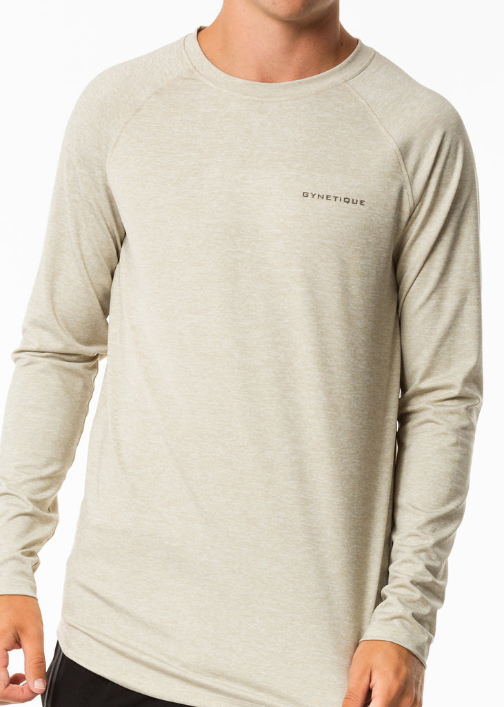 Men's active wear online nz, full sleeve workout top in oatmeal colour, gynetique logo on chest, round neck, fitted style