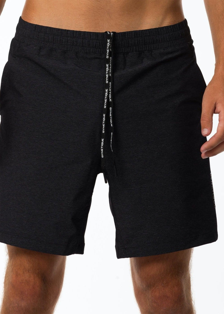 Men's black stretchy gym shorts with drawstrings and pockets