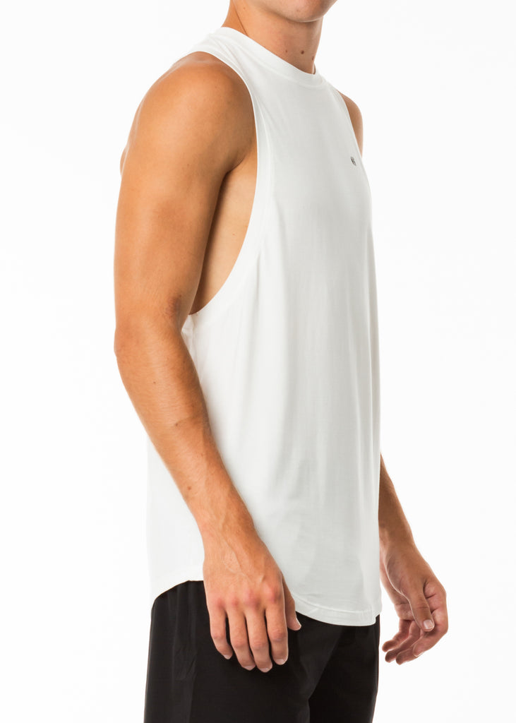 Men's gym clothing nz, white training muscle tank top, dropped arm holes, extra length, round neck