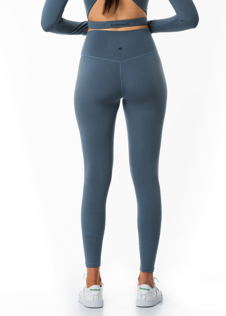 Women's fitness grey tights back view logo