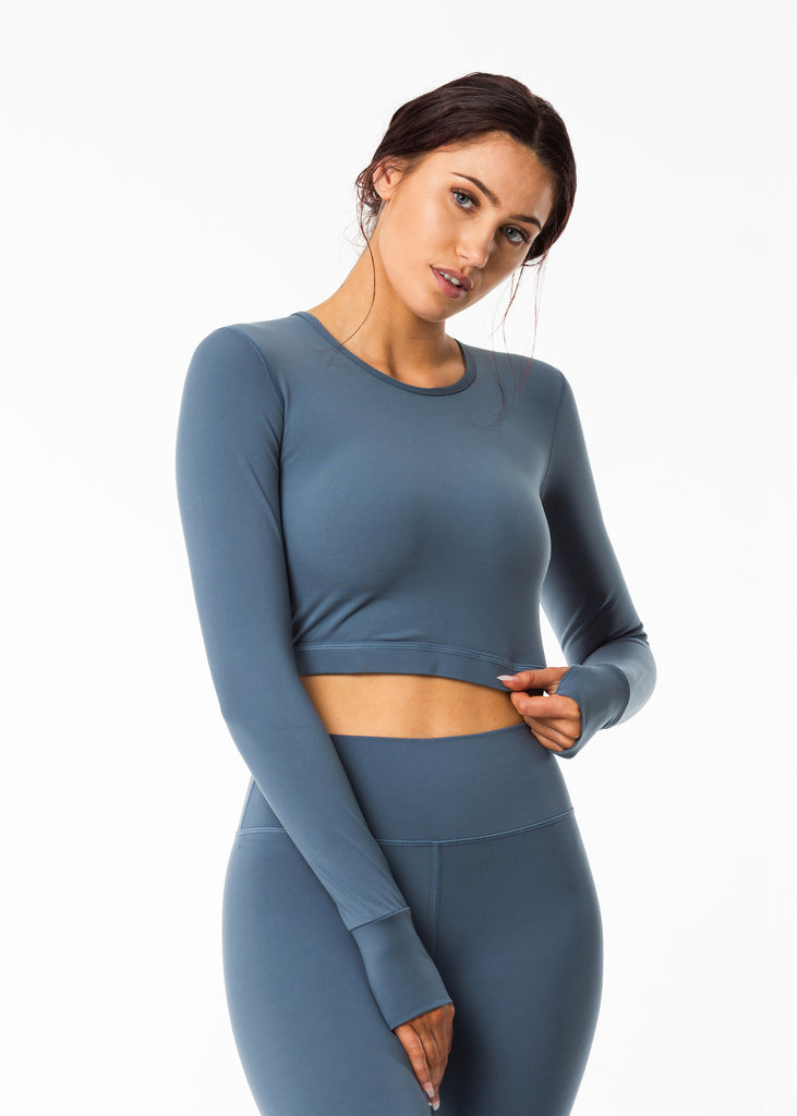 Women's grey long sleeve crop top, nylon grey legging New Zealand studio