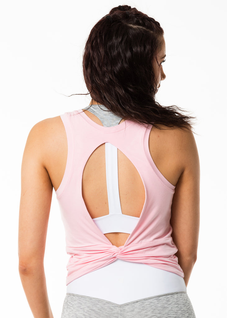Women's gym wear nz, pink tank top, cut out back, twist bow detail