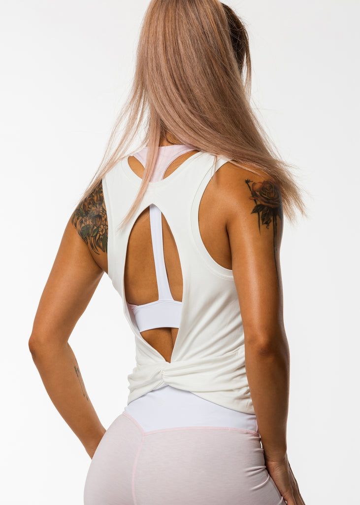 Women's activewear nz white tank top, back cut out, racer back, twist detail