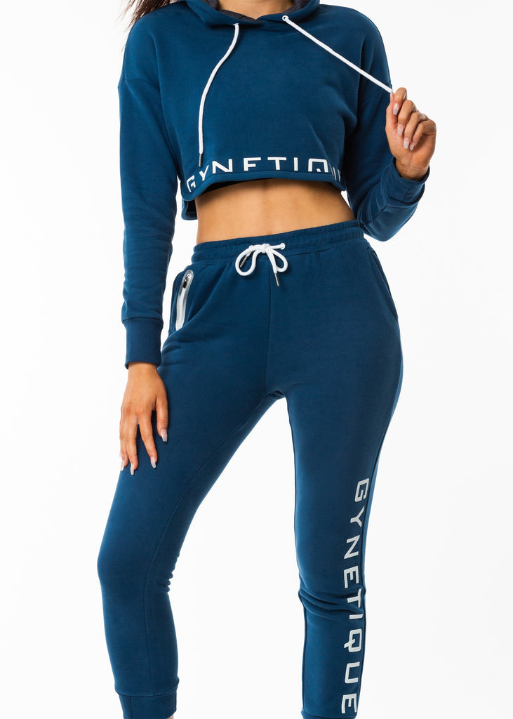 Gynetique workout clothing nz, identity blue cropped hoodie, drawstring, brushed fleece fabric, size small, white logo