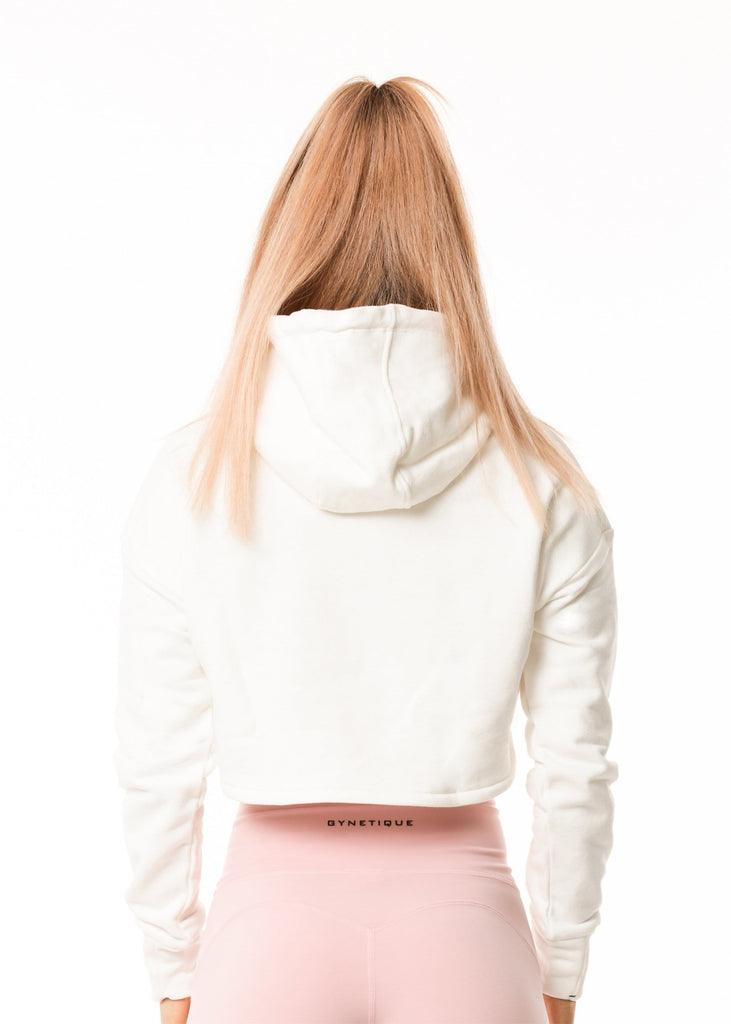 Women's gym wear nz, white crop hoodie full sleeve, plain back, relaxed fit