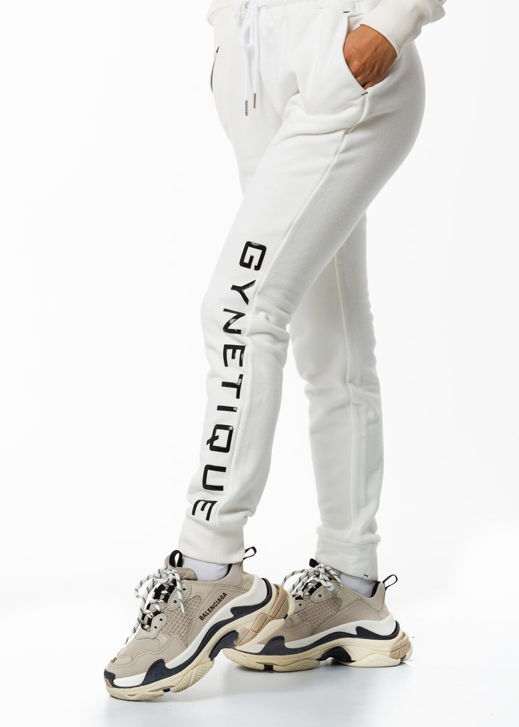 Women's streetwear New Zealand, Gynetique Identity white track pants, popular matching set