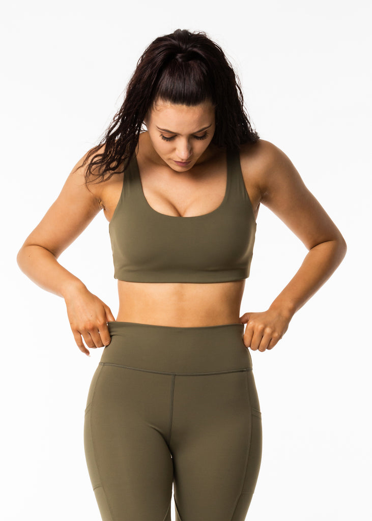Women's activewear brand nz, Gynetique Intense collection khaki sports bra, padded cups, round scoop neck, elastic waist band