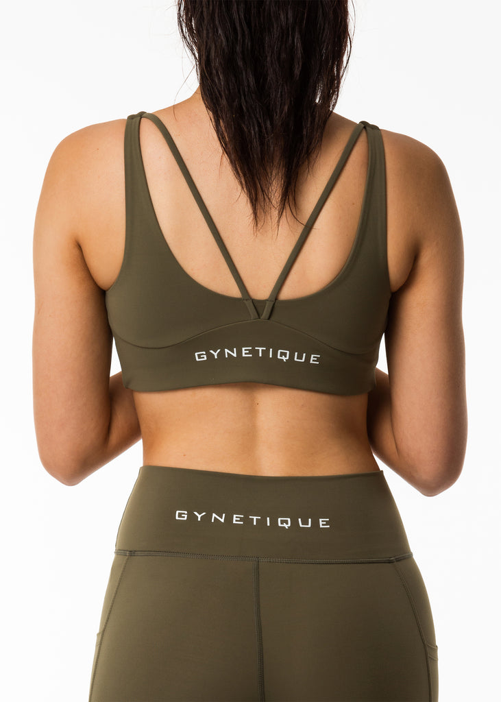 Women's gym clothes, Gynetique Intense collection sports bra in khaki, padded cups, two back straps, white logo on back