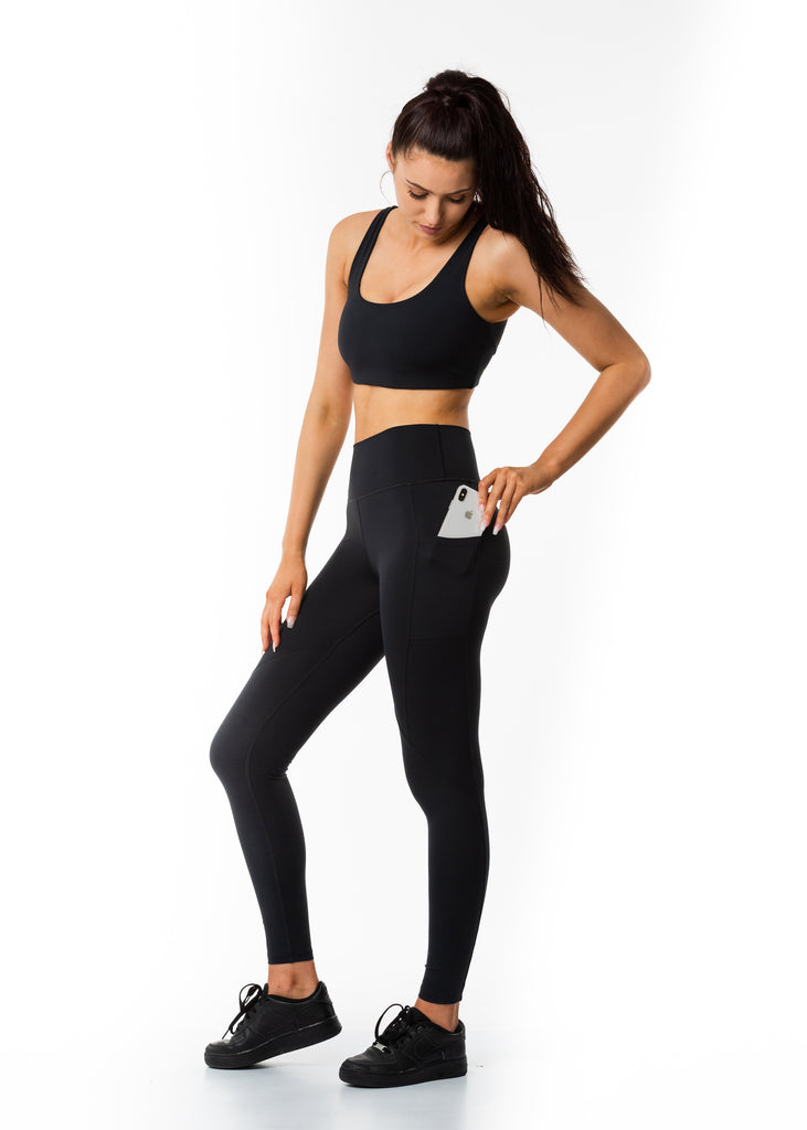 Women's premium activewear online New Zealand, Gynetique black leggings 100% squat proof, side pockets for phone and cards, full length