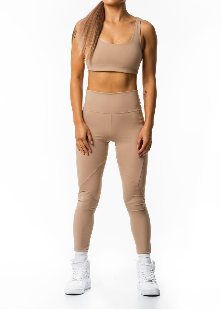 Fitness wear nz, Gynetique Intense workout leggings in beige, high waisted pocket legging, ankle length