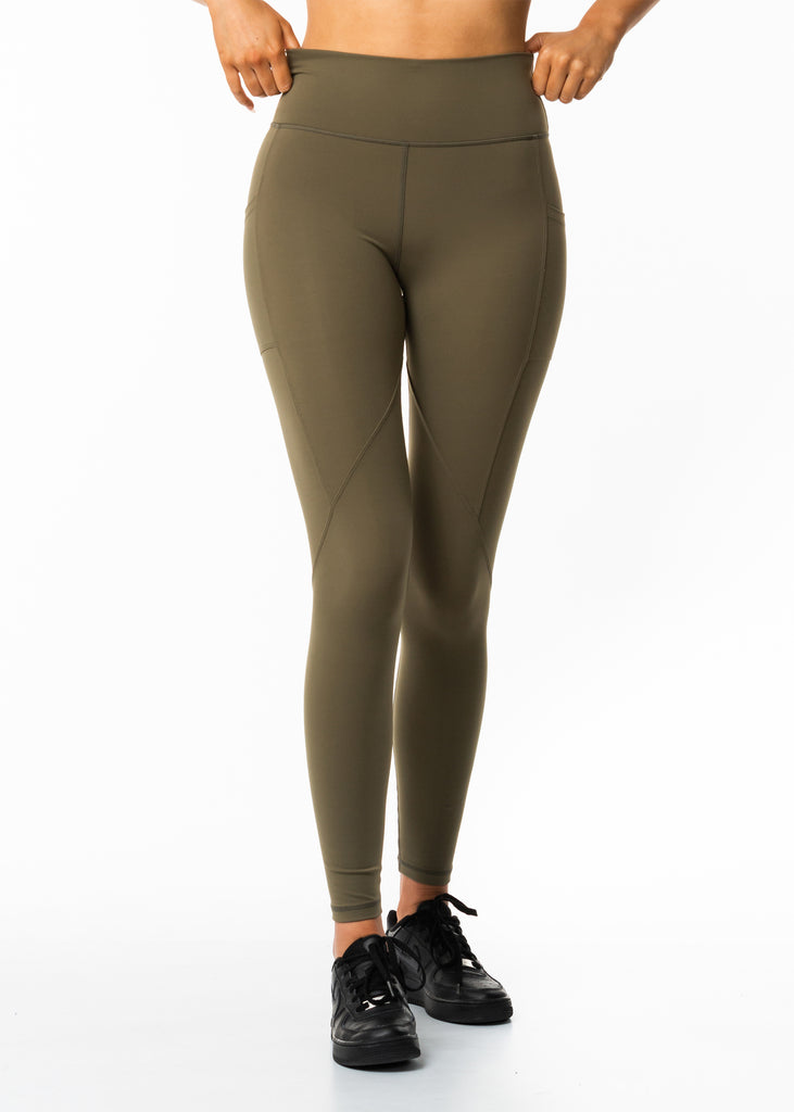 Women's workout clothes, Gynetique Intense women's leggings, colour khaki, high waisted, ankle grazer length, contoured seam lines